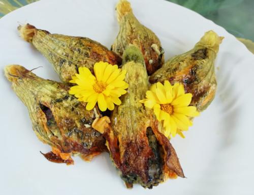 Fiori di zucchina al forno con ortica e cus cus